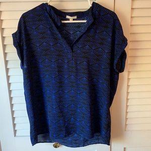 Pleione Short Sleeve Blue Black Pattern Blouse M